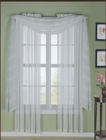 100% Polyester Standard American Style Lace Curtain With Attached Valance