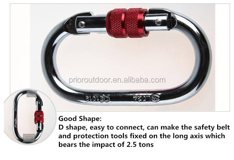 CE+EN Certificated Silver Steel Carabiner Hook 25KN O Type Carabiner Climbing -Quality Guarantee