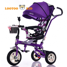 Cheap price little tikes purple trike with canopy / kids tricycle for mom and babies / 360 degree rotation baby tricycle walker