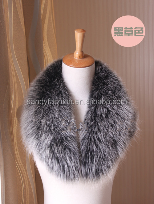 Made in China 2014 white square detchable fox fur collar in coats