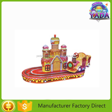Commercial coin operated locked red castle train kiddie ride game machine for entertainment