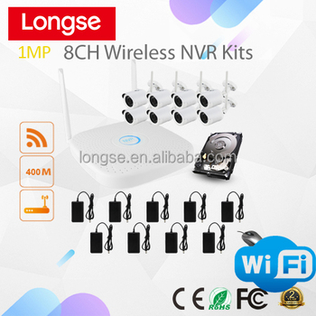 8CH 720P 1MP WIFI NVR & WIFI IP Camera Kit 400m wireless range