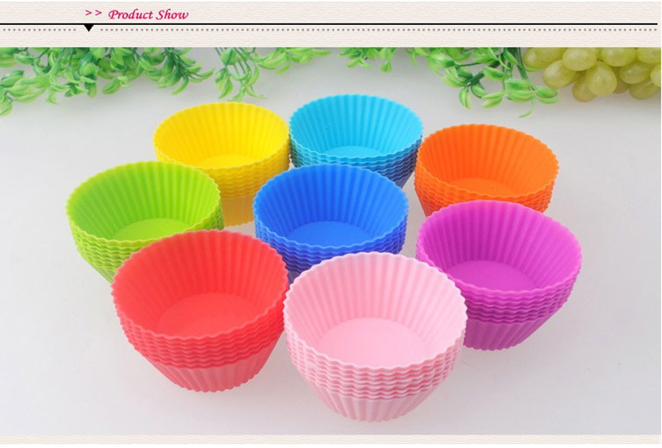 24 Pack Reusable Non-stick Silicone Baking Cups/ Muffin Cupcake Liners Round Backing Mold For Gelatin, Snacks, Frozen Treats