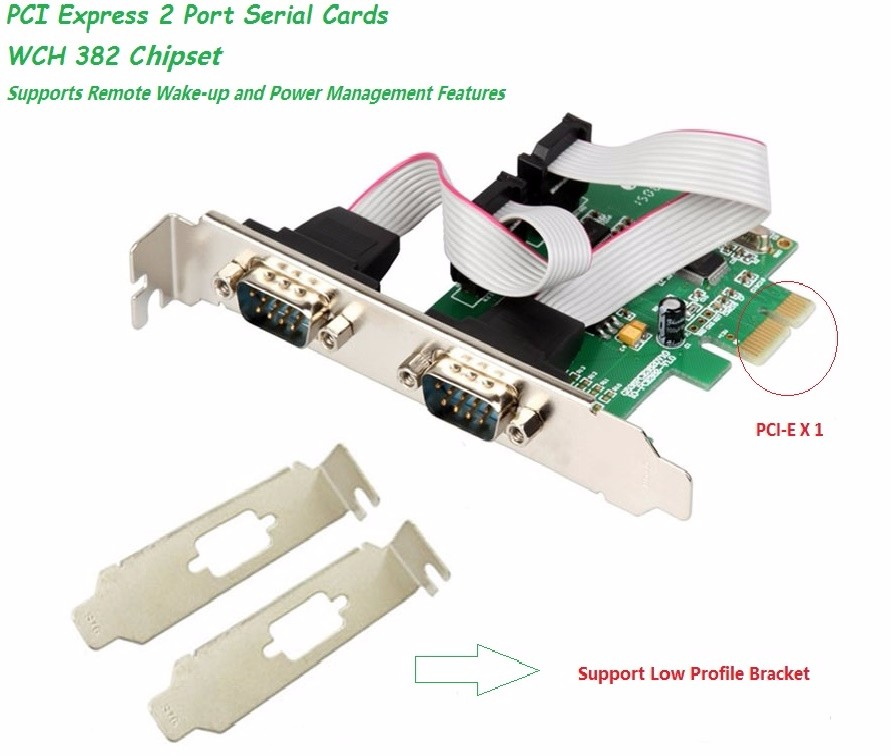 IO Crest 2 Port Serial PCI-e 1.0 x 1 with Full and Low Profile Brackets