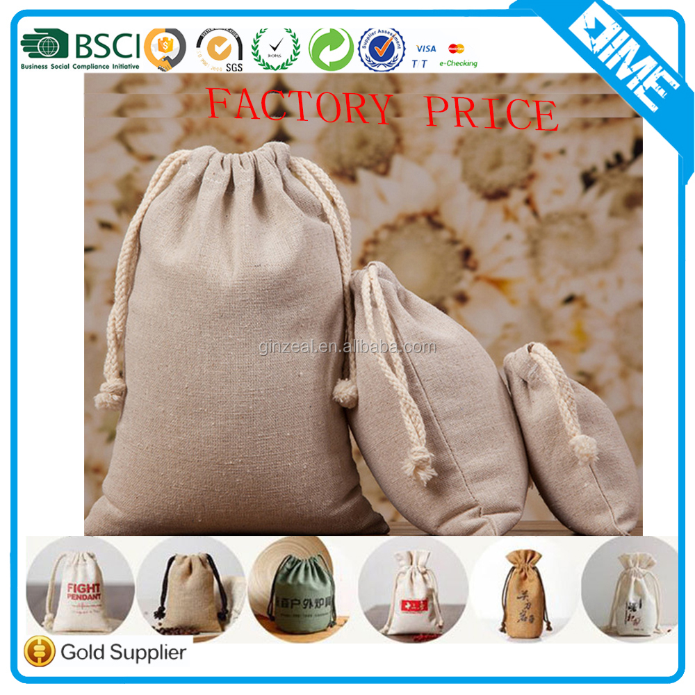 New Fashion natural Drawstring Brushed Cotton Shoes Pouch Bag
