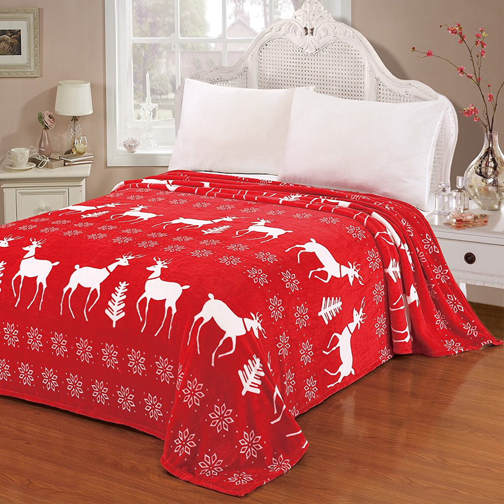 China Christmas super soft custom printed coral throw flannel fleece blanket