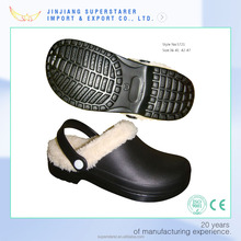 EVA warm winter garden clogs mens fur lined clogs