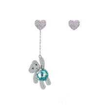 wholesale bear and heart design pave setting CZ diamond women earrings