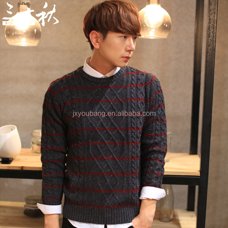 Fashionable crew neck long sleeve loose man cheap jacquard sweater