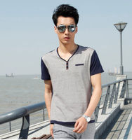 mens wear neck design of blouse models slim fit men shirts man male t-shirt grey free size