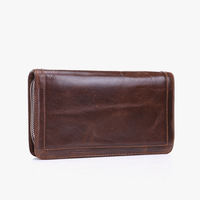 Custom credit card holder genuine leather card slim long leather wallet for men