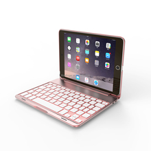 F8S Mini Aluminum Alloy Clamshell Case with 7 Colors Backlit Wireless Bluetooth Keyboard Protective Cover for iPad Mini 2/3