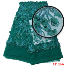 Teal 3d Flower Lace Fabric High Quality Beaded Tulle Lace Embroidered French Lace For Bridal Dresses