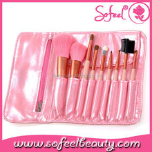 Sofeel 9pcs pink makeup brush set cosmetic powder blush eyeshadow eyeliner eyebrow