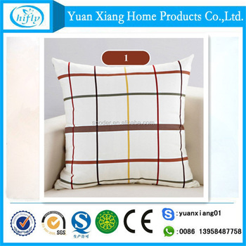 Grid custom printing linen cotton cushion cover pillowcase