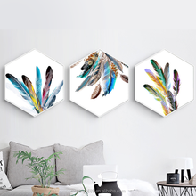 Nordic Hexagon Decorative Painting Art Colourful Feathers Oil Painting for Living Room Decor