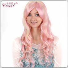 Long curly pink synthetic hair wig
