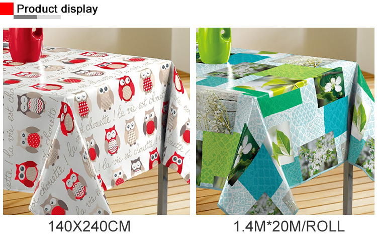 Newly Designs Fancy Customized Non-Woven Green Tablecloth