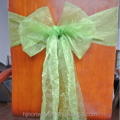 spring green ruffle organza chair sash for wedding and party decoration
