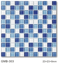 Factory Sale Square Shape Blue Color Family Crystal Glass Mosaic Tiles for Kitchen Bathroom Pool Wall Tiles CheapPrice