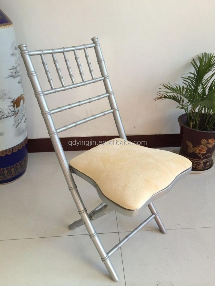 Qingdao Silver Folding Chivari Chairs with Cushions For Wedding