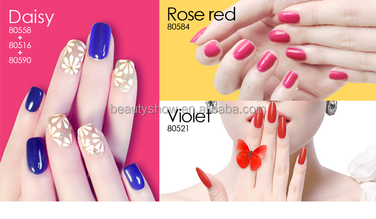 OUL'AC 2015 summer hot sale colored bottles soak off uv gel nail polish