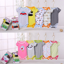5 pcs set short sleeve quality cartersbluefly bodysuits cotton baby clothes romper embroidered