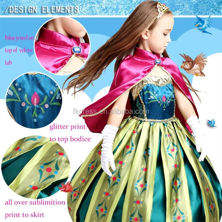 Gros frozen elsa et anna costume robe pour les filles