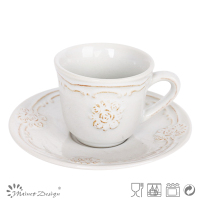 Embossed rose flower Ceramic tea cup and sauce Procelain coffee tea set