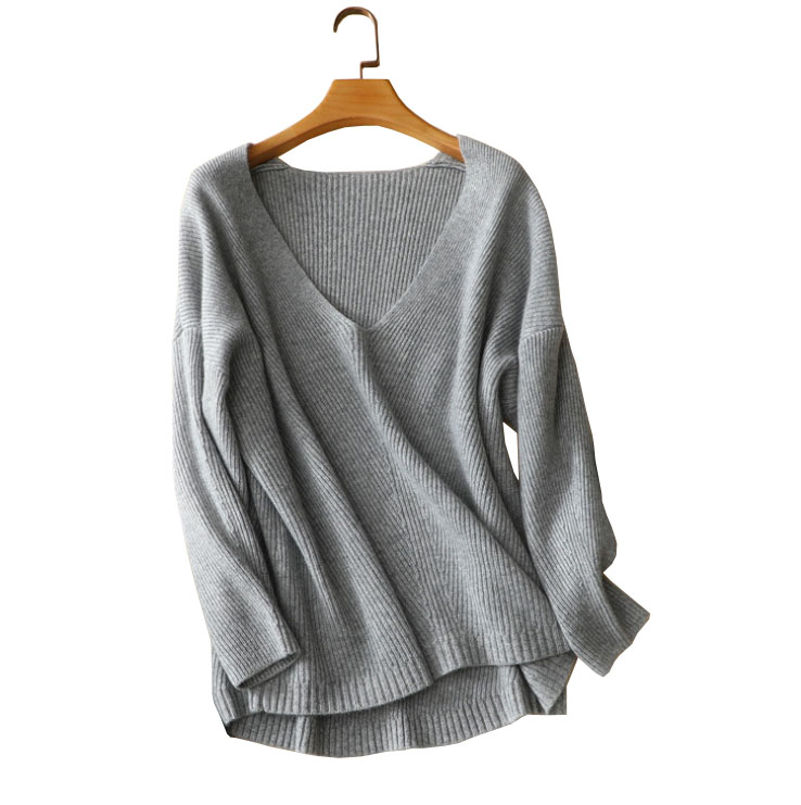 100% cashmere knitted women long sweater V-neck soft warm loose pullover christmas sweater