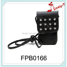 China cell phone neck hanging bag fashion customized design leather mobile phone bag,rivets mobile phone bag