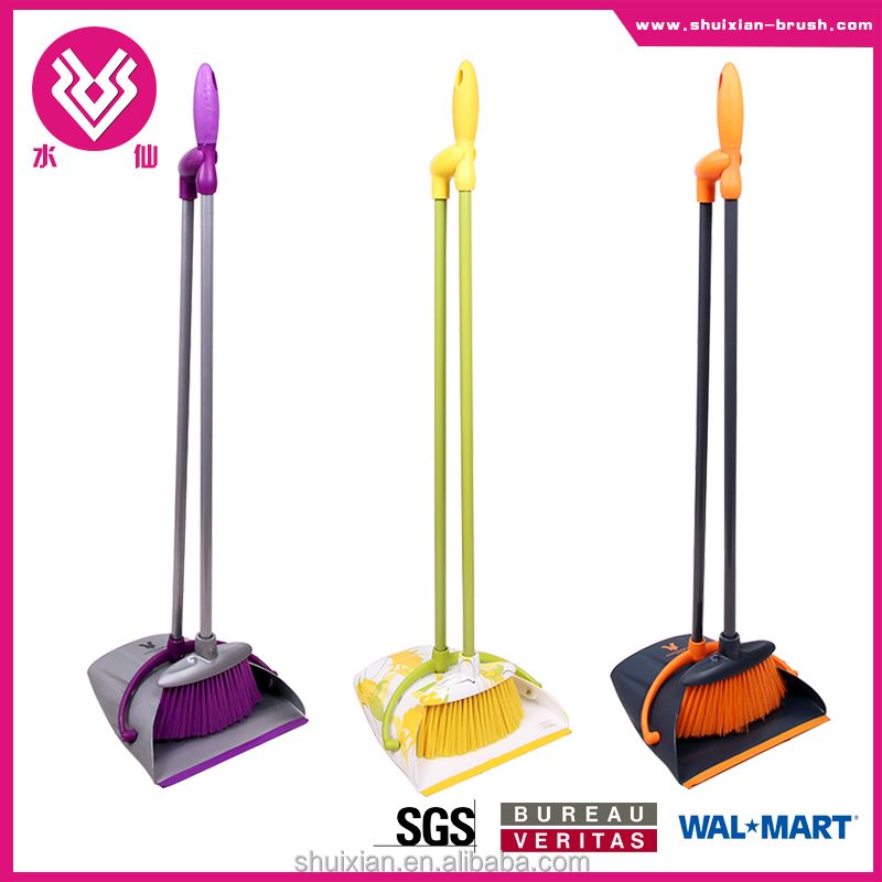 European style cleaning stool for home plastic dustpan and broom set