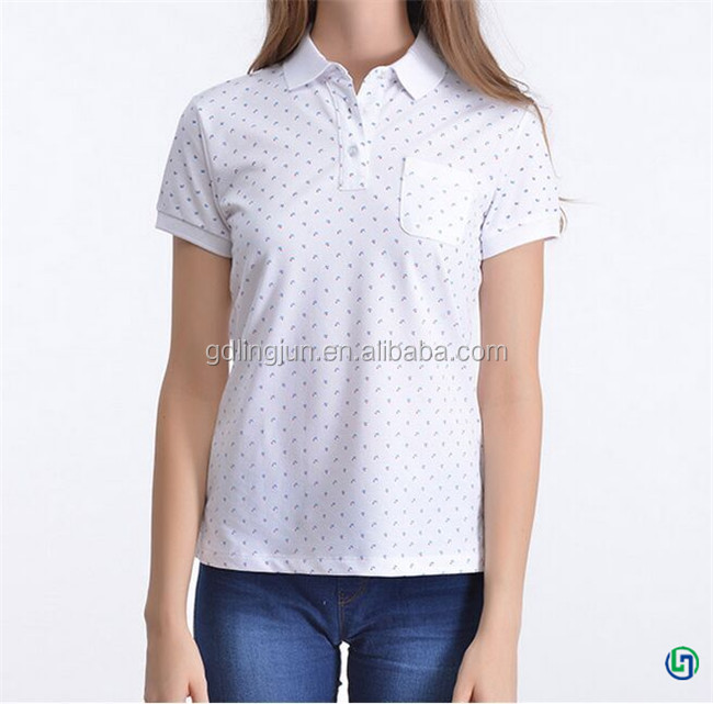 Wholesale print casual cheap hot sale women polo thirt