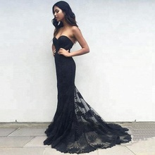 Wholesale Long Evening Gown Prom Dresses See Through Lace Black Evening Dress
