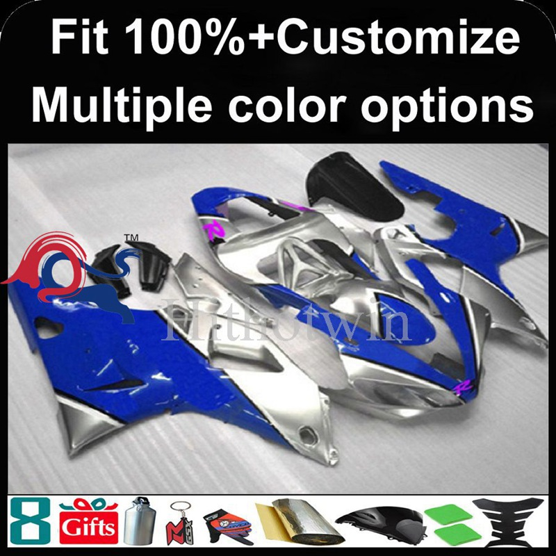 Injection mold blue silver motorcycle cowl for Yamaha YZFR1 2000-2001 00 <strong>01</strong> YZF <strong>R1</strong> 2000 2001 00-<strong>01</strong> ABS Plastic <strong>Fairing</strong>