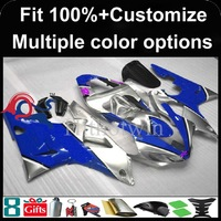 Injection mold blue silver motorcycle cowl for Yamaha YZFR1 2000-2001 00 01 YZF R1 2000 2001 00-01 ABS Plastic Fairing