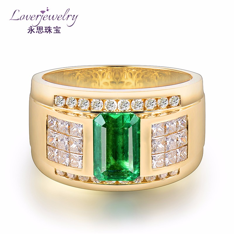 Men 1.9 Carat Emerald 1.45 Carat Diamond Saudi Gold Ring