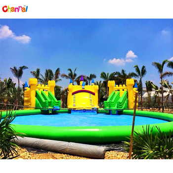 Commercial castle Ship Giant Pool Inflatable Amusement Park Equipment With Pool And Slide Inflatable Hight quality Water Park