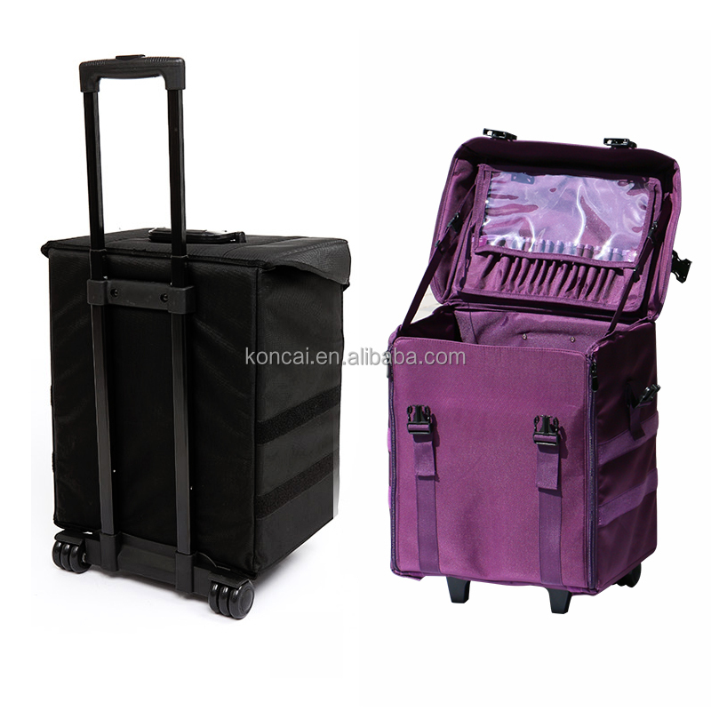 Hair nylon trolley travel rolling beauty makeup cases professionals with wheels cosmetics case, makeup luggage cosmetic case