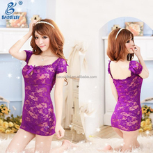 Mature Women Sexy Open Breast Sleeping Sexy Transparent Lace Dress