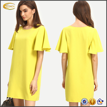 Ecoach free shipping super comfort yellow round neck Ruffle sleeve plain casual womens summer shift dress