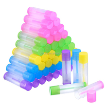 50 Pieces Lip Balm Empty Container Clear Tubes with Twist Bottom and Top Cap, 3/ 16 Oz (5.5 ml) (Multicolor) lip balm kit