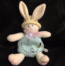 "Manley Toys Bunny Rabbit Plush 10"" Stuffed White Easter Blue Bee"