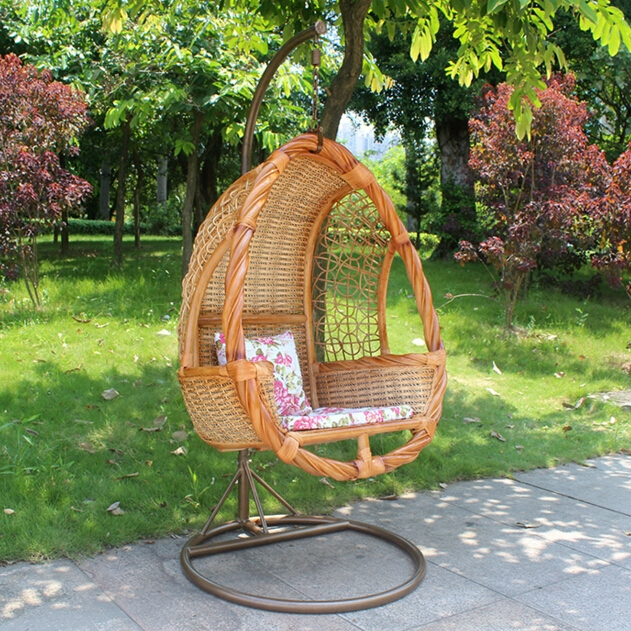 Patio single seat swing hanging chair outdoor wooden for How to make wooden swing seat
