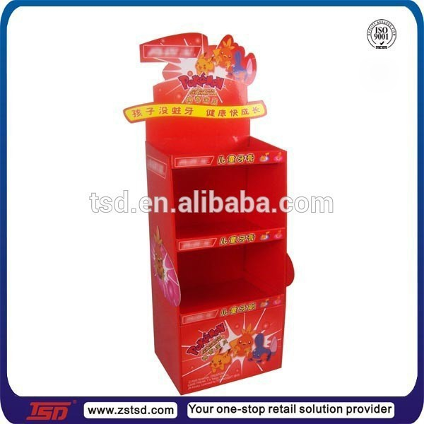 TSD-C007 Custom promotion toothpaste pop display box,supermarket pop shelf display,free standing cardboard display