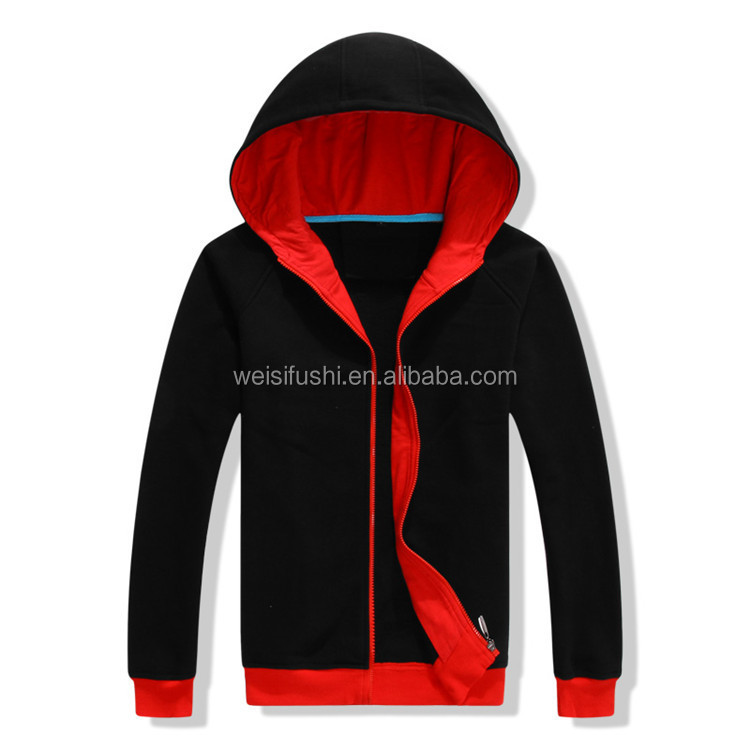wholesale high quality cotton polyester fleece fashion men plain zipper gym custom hoodies