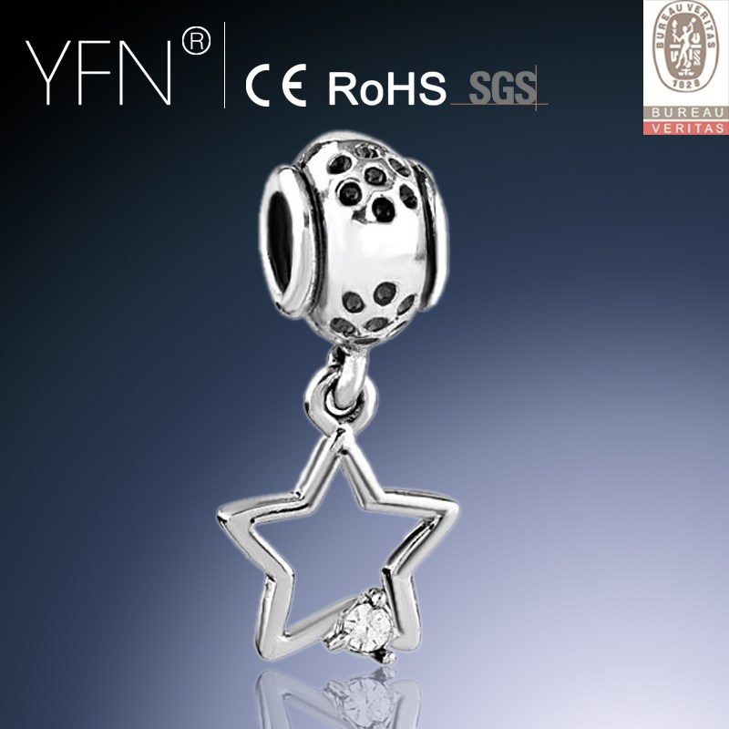 Hollowed Star Charm Sterling Silver Cut-out Dangle Charm Open Crystal Beads