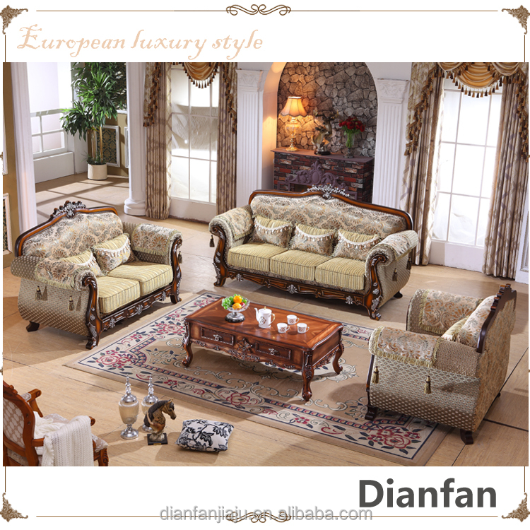 High end European antique style Italian fabric sofa sets designs for home
