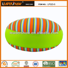 Foam beads filled round cushion satin