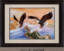 Creative Montain Sky 3D Hawk Artwork Flying Eagle Landscape Oil Painting With Frame